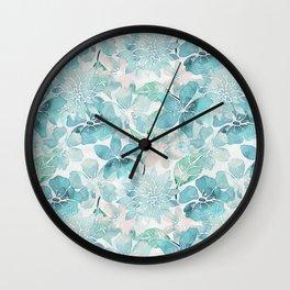 Blue green watercolor flower pattern Wall Clock