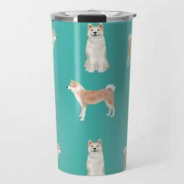 Akita dog breed pet portrait gift for dog lover akitas pet friendly Travel Mug
