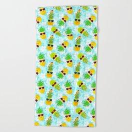 Funny Tropical Christmas Pineapples Beach Towel