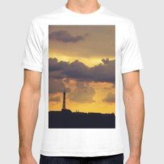 Sunset over Paris MEDIUM White Mens Fitted Tee