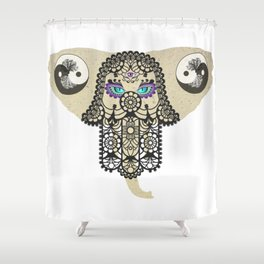 Hamsa Elephant Ying Yang Tree A403 Shower Curtain