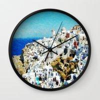 greece Wall Clocks featuring Santorini, Greece  by ClassicalSass