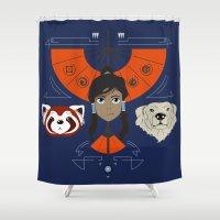 korra Shower Curtains featuring Spirited Avatar by Ashley Hay