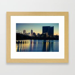 Indy Skyline Reflections - Indianapolis Indiana Framed Art Print