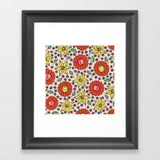 Hungarian embroidery inspired floral - red,yellow,and small flowers Framed Art Print
