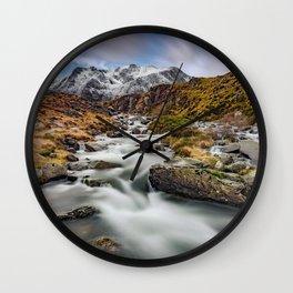 Mountain River Snowdonia Wall Clock