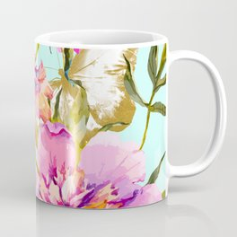 Flowery nature and golden butterfly Coffee Mug