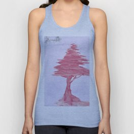 Red Tree watercolor on old paper Unisex Tank Top