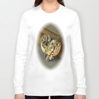 jewish Long Sleeve T-shirts featuring Steampunk Heart of Gold and Silver by Brown Eyed Lady