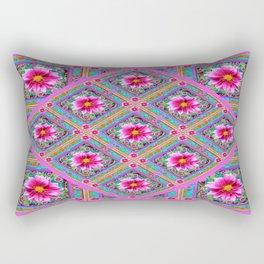 Decorative Exotic Lilac Pattern Fuchsia- Purple Dahlias Design Rectangular Pillow