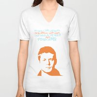 dean winchester V-neck T-shirts featuring Dean Winchester w/ quote by Jess Symons