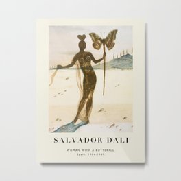 Poster-Salvador Dali-Woman with a butterfly. Metal Print