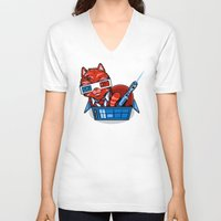 mew V-neck T-shirts featuring Doctor Mew by harebrained