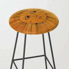 Sun Drawing - Gold and Blue Bar Stool