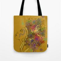 afro Tote Bags featuring Afro by KiraTheArtist