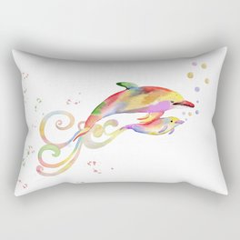 Mom and Baby Dolphin  Rectangular Pillow