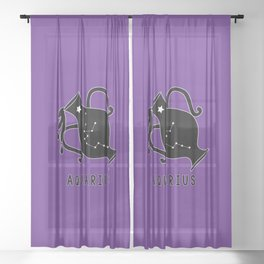 AQUARIUS Horoscope Water Bearer Design - Purple Sheer Curtain