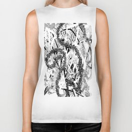 Black and White Abstract Biker Tank