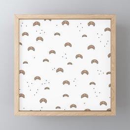 Bonjour good morning breakfast croissant love print Framed Mini Art Print