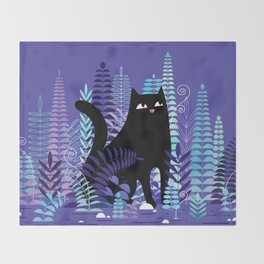 The Ferns (Black Cat Version) Throw Blanket