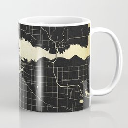 Vancouver Canada Black and Gold Map Coffee Mug