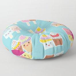 Kawaii cupcakes, ice cream in waffle cones, ice lolly Floor Pillow