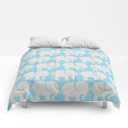 Troop Of Elephants (Elephant Pattern) - Gray Blue Comforters