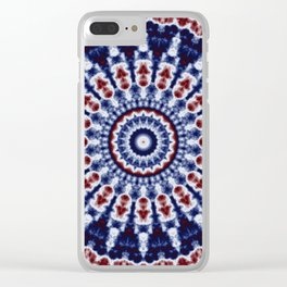 Mandala Fractal in Red White and Blue 02 Clear iPhone Case