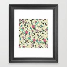 Hand drawn floral pink green blue fall flowers pattern illustration Framed Art Print