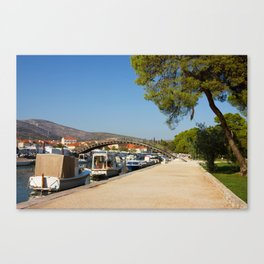 Trogir Waterfront With Boats Lined Along The Coast Canvas Print