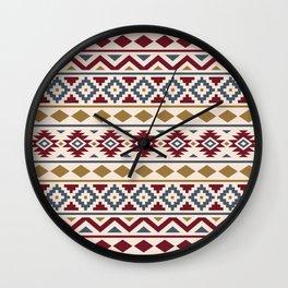 Aztec Essence Ptn III Red Blue Gold Cream Wall Clock
