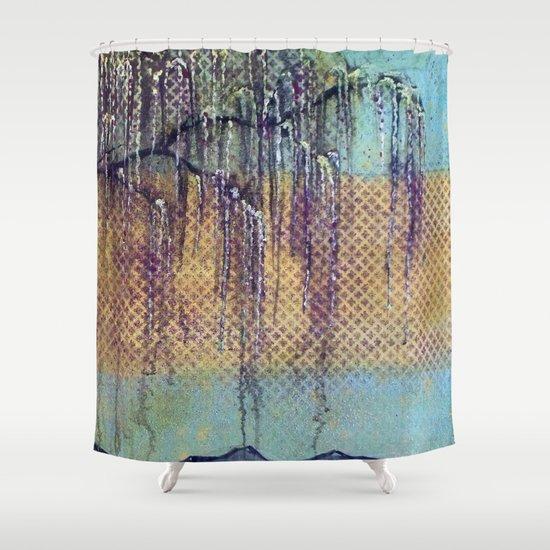 Iridescent Willow Tree Shower Curtain
