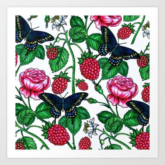 Raspberries pattern Art Print