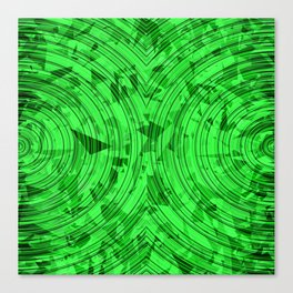 psychedelic geometric circle pattern abstract background in green Canvas Print