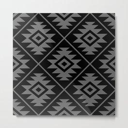 Aztec Symbol Pattern Gray on Black Metal Print