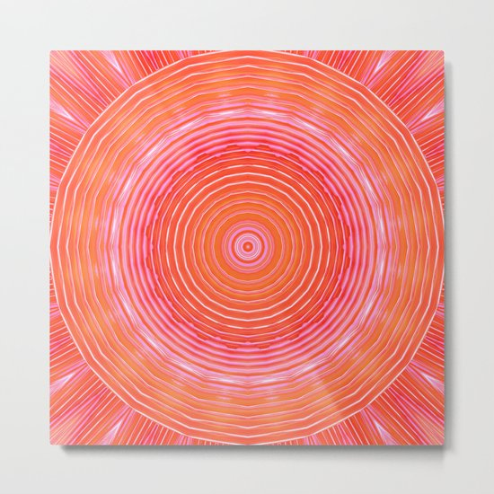 Mandala orange pink Metal Print