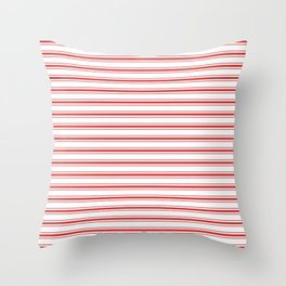 Mattress Ticking Wide Striped Pattern in Red and White Throw Pillow