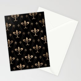 Fleur-de-lis pattern black and gold Stationery Cards