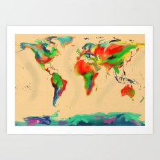 World of Colour Map Art Print