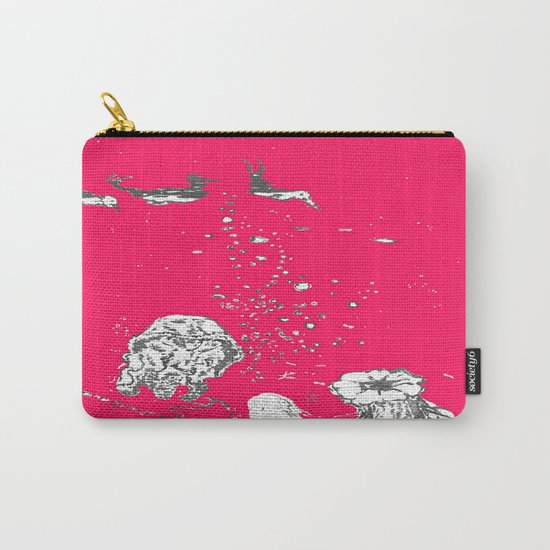 Two Tailed Duck and Jellyfish Bright Red Pink Carry-All Pouch