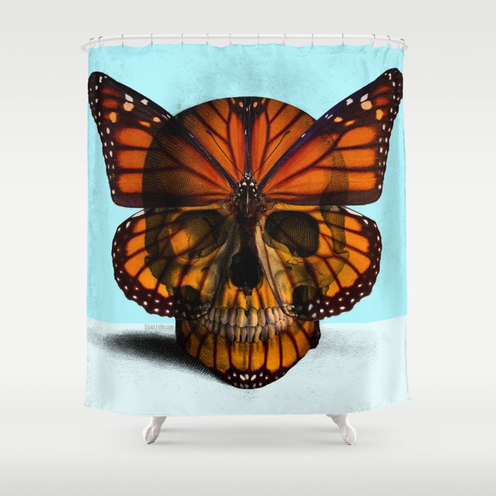 SKULL (MONARCH BUTTERFLY) Shower Curtain