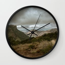 Big Bend Cloudy Mountaintop View - Lost Mine Trail - Landscape Photography Wall Clock