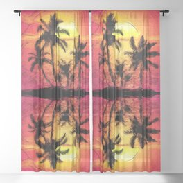 Tropical Reflections at Sunset   Saletta Home Decor Sheer Curtain