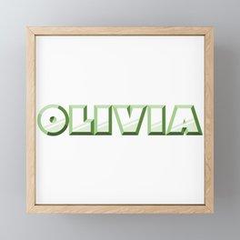 """OLIVIA"" first name green pattern Framed Mini Art Print"