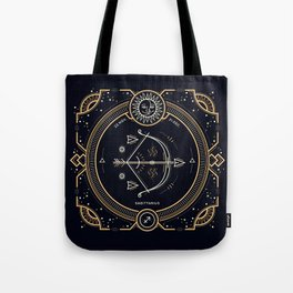 Sagittarius Zodiac Golden White on Black Background Tote Bag