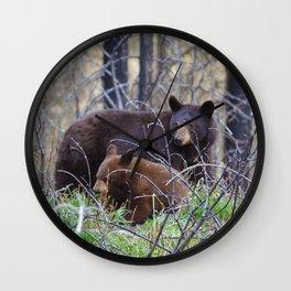 Sow & cub in Jasper National Park   Canada Wall Clock