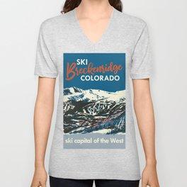 Blue Breckenridge Vintage Ski Poster Unisex V-Neck