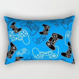 Video Games Blue Rectangular Pillow