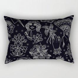 Americana Print Black Rectangular Pillow