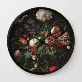 Still Life Parrot Tulips, Peonies, Hibiscus, Hydranga, Periwinkle Flowers in Vase by Jan de Heem Wall Clock